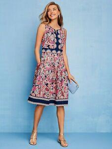 NEW $149 TALBOTS Blue,Pink Paisley Poplin Fit & Flare Dress Sz 4P,4 Petite