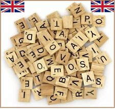 100X Wooden Scrabble Tiles Black Letters Numbers For Crafts Wood Alphabets Games