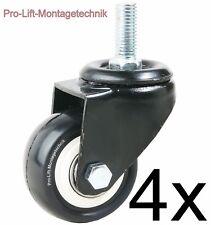 4 Stück  je 45kg Lenkrollen Ø50mm mit Gewindebolzen Gummibelag 02120  12345