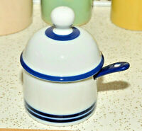 Dansk Blue Stripe Blue Mist Jelly Jam Covered Jar With Spoon condiment pottery
