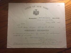 Honorable Discharge Orders, 1898, Spanish American War Era, Utica, George Lawyer