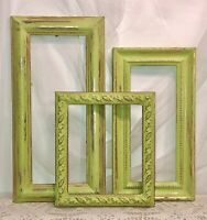 Set/Lot 3 VTG Ornate Wooden Picture Frame Gold Gilt Key Lime Green Distressed