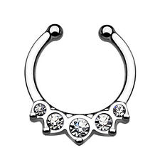 Nose Piercing Nose Ring Fake Septum Non Piercing Clip On Ring Zirconia Crystal