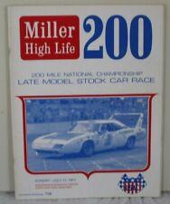 1971 Miller High Life 200 Stock Car Wisconsin State Fair Speedway Race Program