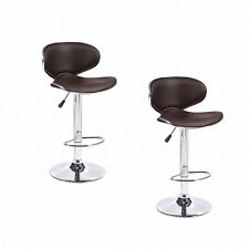 BN Set of 2 Adjustable Bar Stools Leather Hydraulic Swivel Dining Chair Brown