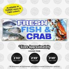 Fresh Fish & Crab Banner Food Market Restaurant Open Sign Shop Display Vinyl Cod