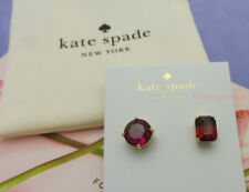 NWT Kate Spade Round Square Mismatched Ultra Pink/Ruby Faceted Earrings