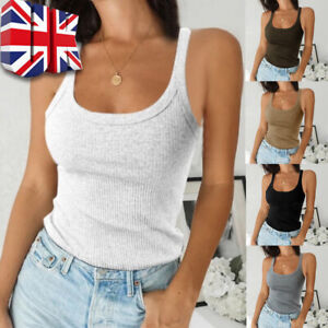 Womens Plain Ribbed Cami Vest Tops Ladies Stretchy Casual Tank Tops Shirts UK