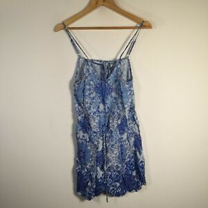 Forever New womens playsuit romper size 16 blue geometric sleeveless round neck
