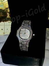 Mens Custom Fully Ice out Bling Oval Watch Iced Cz vvs Quality Stainless Steel