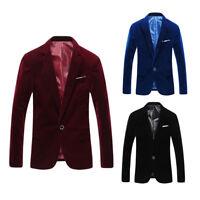 Mens Velvet Blazer Jacket Adults Smart Slim-Fit Dinner Coat