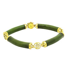 14kt Yellow Gold Jade Bracelet   8 Inches