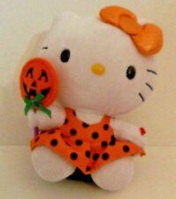 Hello Kitty Halloween TY Plush Polka Dot Dress  Jack O Lantern Lollipop Plush
