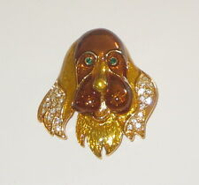 Irish Setter Pin Gold Tone New Crystal Accents Eyes Ears Dogs Jewlery