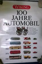 WIKING 100 JAHRE AUTOMOBIL Poster Plakat v. 1986 gerollt 69 x 49 cm TOP Pelzer