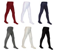 Girls Plain School Knitted Cotton Rich Warm Tights 3 Pairs
