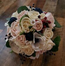 Blue Center Anemone Sola Wood Bridal Bride Bouquet Pink Rose Wedding Flowers