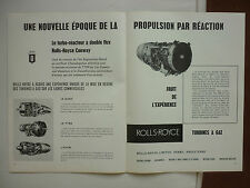1959 PUB ROLLS-ROYCE CONWAY BY-PASS JET ENGINES GAS TURBINE DART AVON FRENCH AD