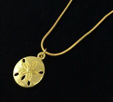 "16"" Gold, Sand Dollar Charm Necklace, Plated Snake Chain, Beach Graduation Gift"