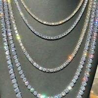 Crystal Diamond Gold Silver 1 Row Men Hip Hop Tennis Necklace Choker Chain Gifts