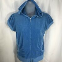 Juicy Couture Full Zip Hoodie Short Sleeve Turquoise Ruched pockets Size L  EUC