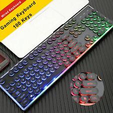 GB PUNK Keycap K100 Wired 7 Colours LED Backlit Ergonomic Gamer Gaming Keyboard