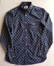 Lands End Men's Size Medium Poplin Shirt Navy Print 100% Cotton Long Sleeve MED
