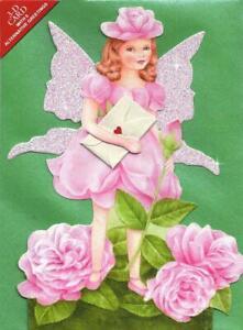 6 Flower Fairy Greetings Cards, Die-cut with Glittered Wings (EG)
