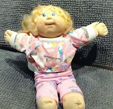 1986 CABBAGE PATCH KIDS GIRL BLUE EYES BLOND CORNSILK PONYTAIL TEETH COLECO OK