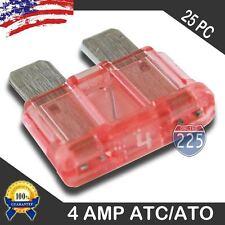25 Pack 4 AMP ATC/ATO STANDARD Regular FUSE BLADE 4A CAR TRUCK BOAT MARINE RV US