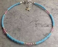 """Turquoise & Pink Glass Seed Bead Star Charm Anklet/Ankle Bracelet 9.5"""""""