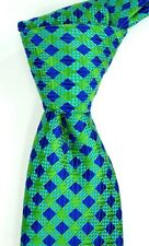 NWOT Ted Baker London Textured Blue Navy & Green Check Silk Neck Tie USA