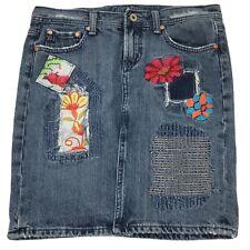 Miss Me Blue Denim Embroidered Distressed Floral Pencil Skirt Front Slit Sz M