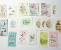 Vintage Greeting Cards Birthday Baby Get Well UNUSED Lot of 18 cards Glitter