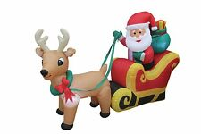 6 Foot Christmas Inflatable Santa Claus Reindeer Sleight Yard Outdoor Decoration