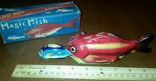Vintage tin friction powered magic fish made in japan in box tin toy lot