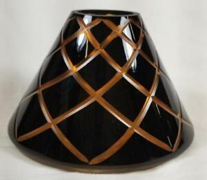 Yankee Candle Jar Shade Topper HARLEQUIN Halloween Orange black Etched Diamonds