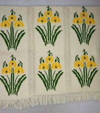 "Vtg Soft Shaggy Hand Knit Ivory Wool Floral Cottage Throw Blanket Afghan 50"" 65"""