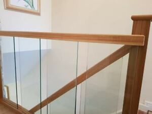 Staircase Handrail Oak and Glass Landing Banister Set for Landing up to 1.8m