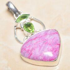 "Handmade Cherry Ruby Natural Gemstone 925 Sterling Silver Pendant 2.25"" #P03395"