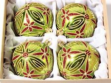 Exclusive set (4) hand blown rhinestone gold red green Christmas tree baubles