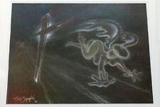 """Elio Zupini """"Vamanos Vollando"""" Crayon on Paper 1990 Unique Signed"""