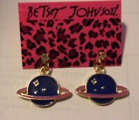 NWT BETSEY JOHNSON SATURN PLANET ENAMEL CRYSTAL EARRINGS