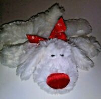 "Dan Dee White And Red Laying Dog  9"" Plush Stuffed Animal"