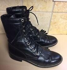 Vintage 70s Hippie Boho Boots ACME Black Granny Lace Up Ankle Women Shoes 7 USA