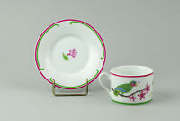 Lynn Chase Parrots of Paradise Cup and Saucer Set Amazon Parrots Leaves Flowers