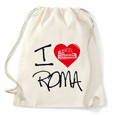Art T-shirt, Zaino I Love Roma, Bianco, Sacca Gym