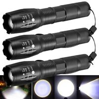 3 x Tactical 18650 Flashlight T6 High Powered 5Modes Zoomable Aluminum