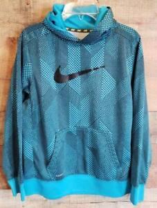 Boys Sz XL Nike Graphic Pullover Hoodie Sweatshirt Graphic Print Turquoise Blue