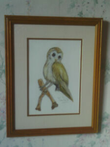 Vintage 1990s Framed Watercolour Painting of an Owl Bird -signed